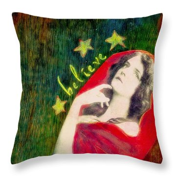 Throw Pillow featuring the mixed media Believe by Desiree Paquette