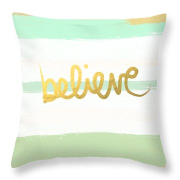 Believe In Mint And Gold Throw Pillow