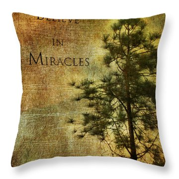 Believe In Miracles - With Text			 Throw Pillow by Claudia Ellis