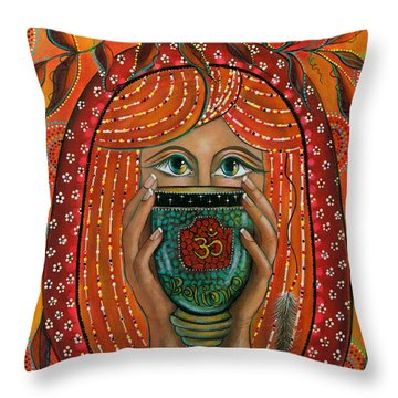 Throw Pillow featuring the painting OM by Deborha Kerr