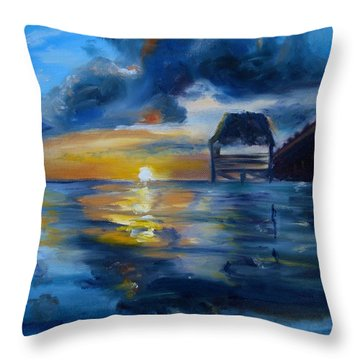 Belizean Sunrise Throw Pillow
