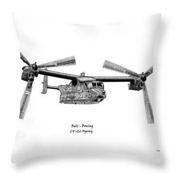 Throw Pillow featuring the drawing Bell-boeing Cv-22b Osprey by Arthur Eggers