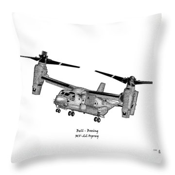 Throw Pillow featuring the drawing Bell-boeing Mv-22b Osprey by Arthur Eggers