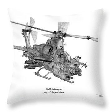 Throw Pillow featuring the drawing Bell Helicopter Ah-1z Supercobra by Arthur Eggers