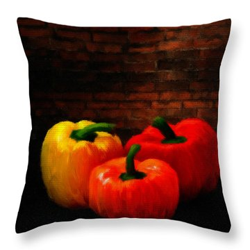 Bell Peppers Throw Pillow by Lourry Legarde