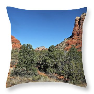 Throw Pillow featuring the photograph Bell Rock And Courthouse Butte by Penny Meyers