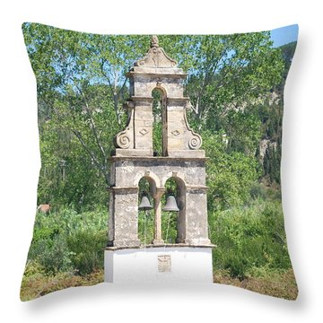 Throw Pillow featuring the photograph Bell Tower 1584 1 by George Katechis