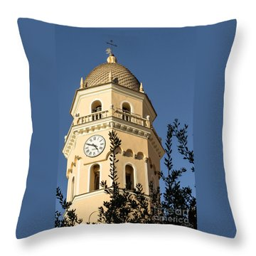 Bell Tower Of Vernazza Throw Pillow