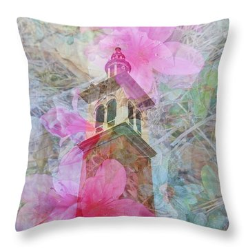 Bell Tower Wrapped In Spring Throw Pillow