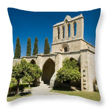 Bellapais Abbey Kyrenia Throw Pillow by Jeremy Voisey