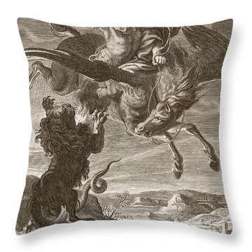 Bellerophon Fights The Chimaera, 1731 Throw Pillow