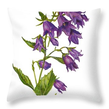 Bellflower - Campanula Throw Pillow