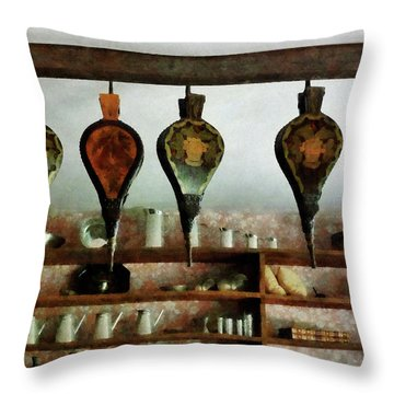 Throw Pillow featuring the photograph Bellows In General Store by Susan Savad