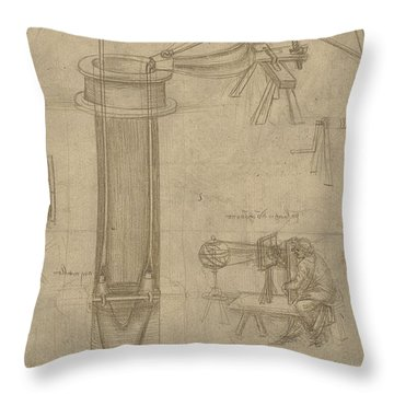 Bellows Perspectograph With Man Examining Inside From Atlantic Codex Throw Pillow by Leonardo Da Vinci