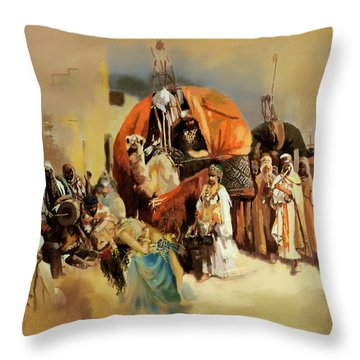 Belly Dancer Caravan Throw Pillow by Corporate Art Task Force