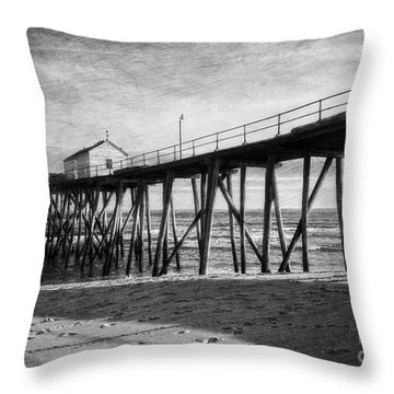 Throw Pillow featuring the photograph Belmar Fishing Pier In Black And White by Debra Fedchin