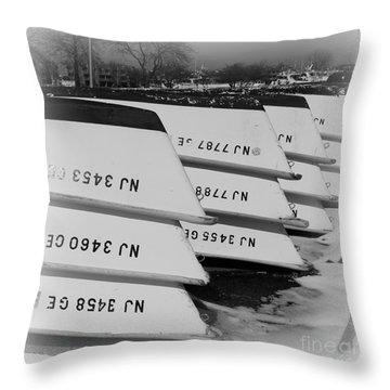 Belmar Marina Rowboats Throw Pillow by Paul Ward