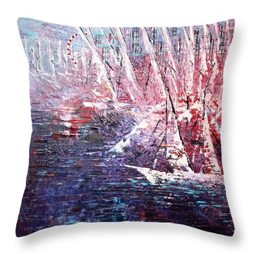 Belmont Turn  Throw Pillow by George Riney
