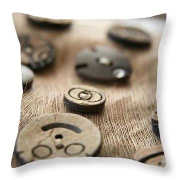 Beloved Buttons  Throw Pillow by Lynn England