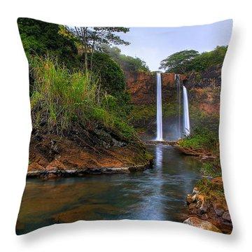 Below Wailua Falls Throw Pillow