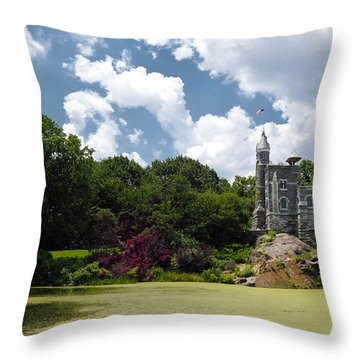 Belvedere Castle Turtle Pond Central Park Throw Pillow by Amy Cicconi