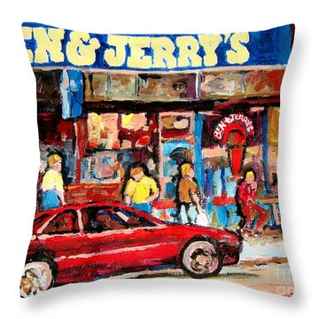 Ben And Jerrys Ice Cream Parlor Throw Pillow by Carole Spandau