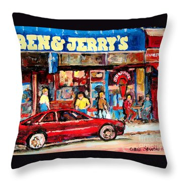 Ben And Jerrys Ice Cream Parlor Throw Pillow