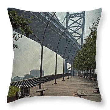 Ben Franklin Bridge And Pier Throw Pillow by Tom Gari Gallery-Three-Photography