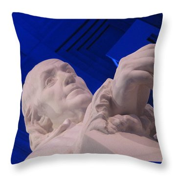 Ben Franklin In Blue I Throw Pillow