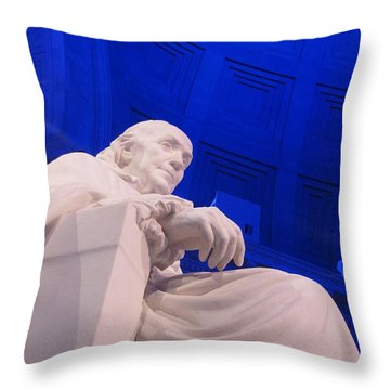 Ben Franklin In Blue II Throw Pillow by Richard Reeve