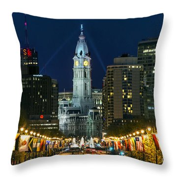 Ben Franklin Parkway And City Hall Throw Pillow by John Greim