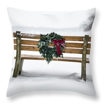 Bench And Wreath Throw Pillow by Eric Gendron
