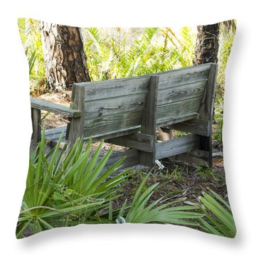 Bench In Nature Throw Pillow