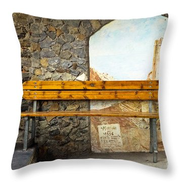 Bench In Riomaggiore Throw Pillow