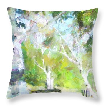 Throw Pillow featuring the painting Bench In The Park by Wayne Pascall