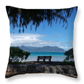 Bench Of Kaneohe Bay Hawaii Throw Pillow by Jewels Blake Hamrick
