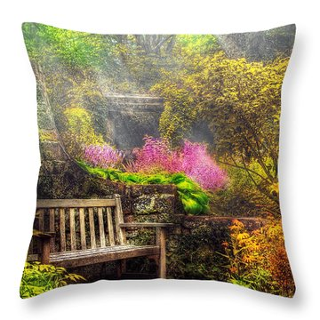 Bench - Tranquility II Throw Pillow by Mike Savad