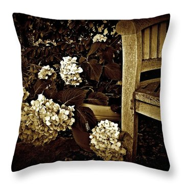 Bench With Hydrangeas Throw Pillow