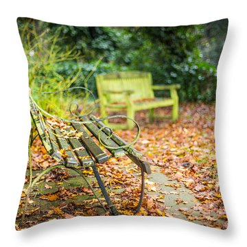 Throw Pillow featuring the photograph Benches And Leaves by Gary Gillette