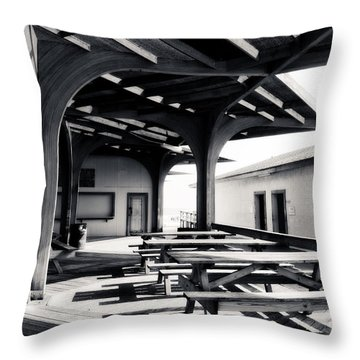 Benches At The Beach Throw Pillow
