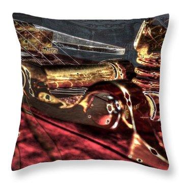 Throw Pillow featuring the photograph Bending The Blues Digital Guitar Art By Steven Langston by Steven Lebron Langston