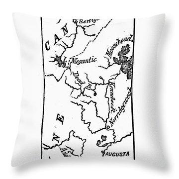 Benedict Arnold: Map, 1775 Throw Pillow by Granger