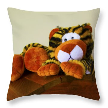 Bengal Tiger Abstract  Throw Pillow by Barbara Snyder