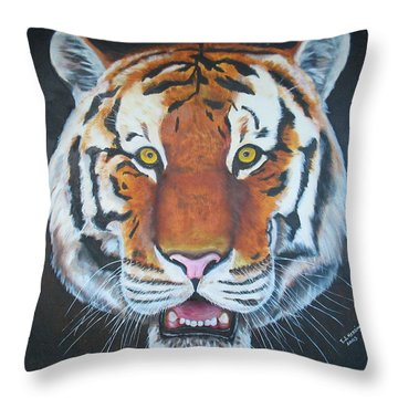 Throw Pillow featuring the painting Bengal Tiger by Thomas J Herring