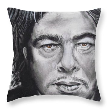 Throw Pillow featuring the drawing Benicio Del Toro by Eric Dee