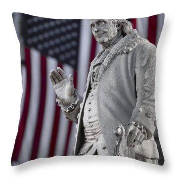 Benjamin Franklin Throw Pillow by Eduard Moldoveanu