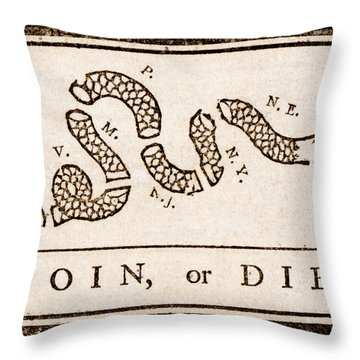 Throw Pillow featuring the painting Benjamin Franklin's Join Or Die Cartoon by Benjamin Franklin