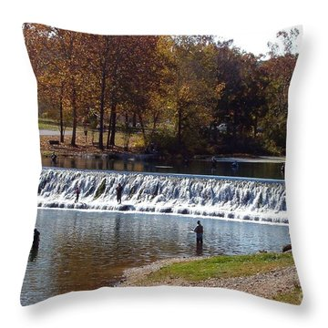 Throw Pillow featuring the photograph Bennett Springs Spillway by Sara  Raber