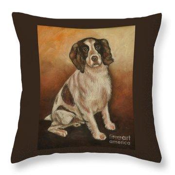 Benson - English Springer Spaniel Throw Pillow by Heather Kertzer