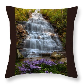 Throw Pillow featuring the photograph Benton Falls In Spring by Debra and Dave Vanderlaan